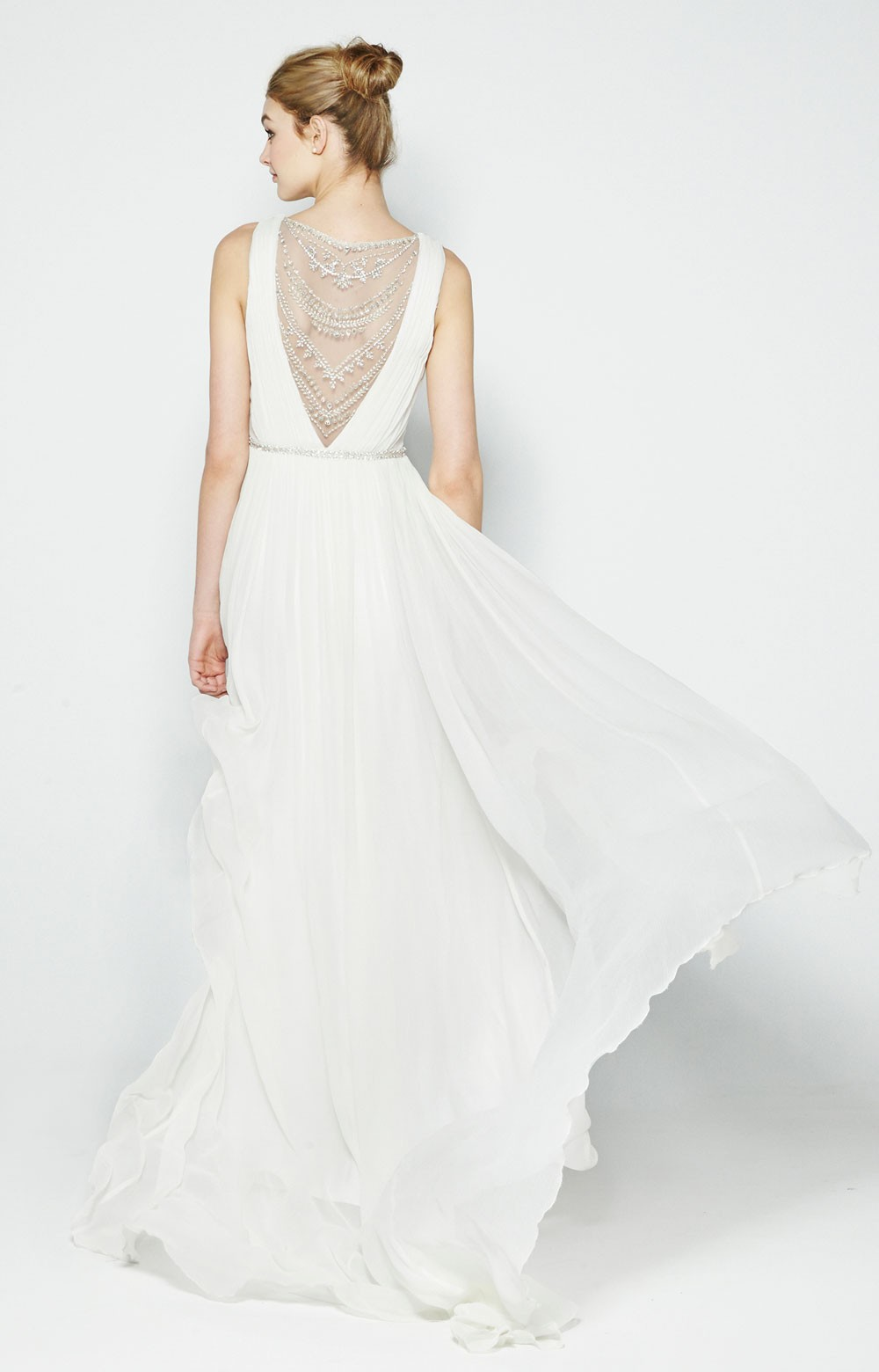 Millie Crinkle Silk Chiffon Bridal Gown by Nicole Miller