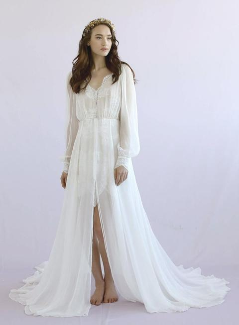 3a851f9558 Petunia silk, chiffon, long-sleeve, center slit, lace bridal gown. Image:  Petuna wedding ...