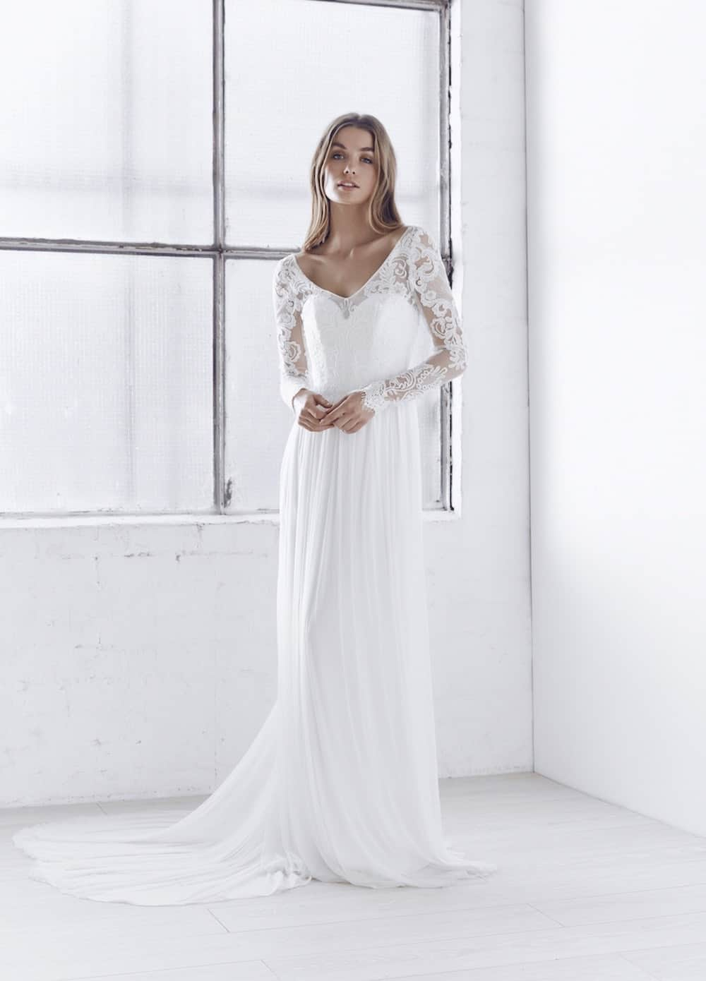9b9d5182a755 ... India silk tulle wedding dress with long sleeves by Anna Campbell